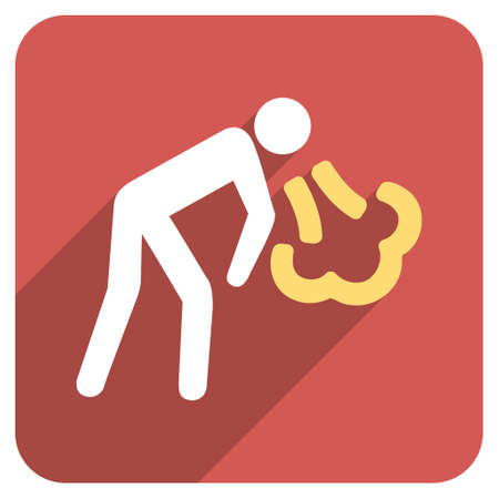 vomiting: Vomiting Person long shadow glyph icon. Style is a flat symbol on a red rounded square button.