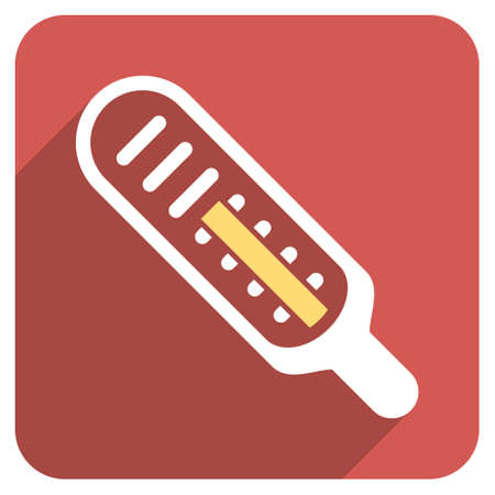 weather gauge: Thermometer long shadow vector icon. Style is a flat symbol on a red rounded square button.