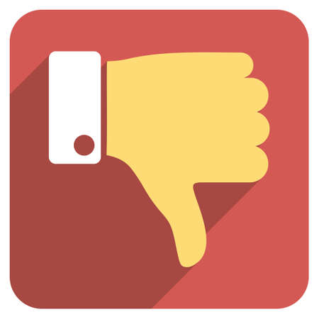 ugly gesture ugly gesture: Thumb Down long shadow vector icon. Style is a flat symbol on a red rounded square button.