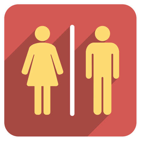 shadow people: Toilet People long shadow vector icon. Style is a flat symbol on a red rounded square button. Illustration