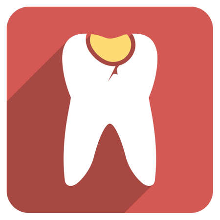 cranny: Tooth Caries long shadow vector icon. Style is a flat symbol on a red rounded square button. Illustration