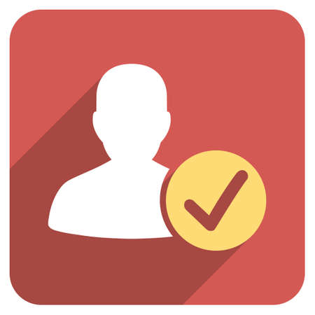 valid: Valid User long shadow vector icon. Style is a flat symbol on a red rounded square button. Illustration