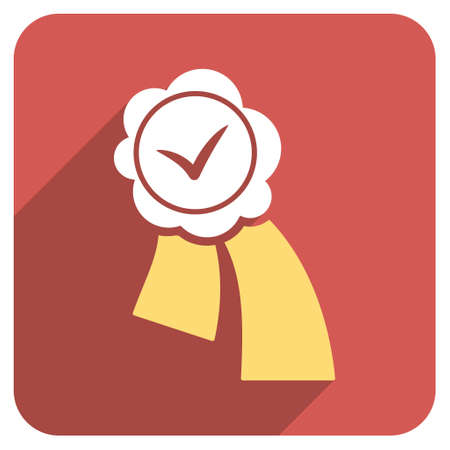 validation: Validation Seal long shadow vector icon. Style is a flat symbol on a red rounded square button.