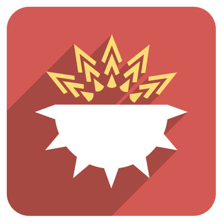 idler: Viral Structure long shadow vector icon. Style is a flat symbol on a red rounded square button.