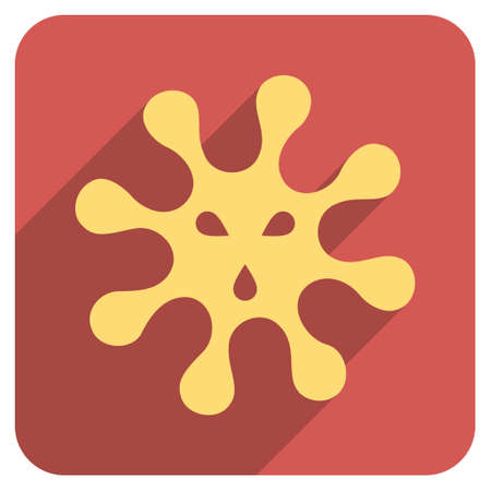 idler: Virus long shadow vector icon. Style is a flat symbol on a red rounded square button.