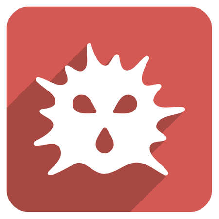 ameba: Virus Structure long shadow vector icon. Style is a flat symbol on a red rounded square button.
