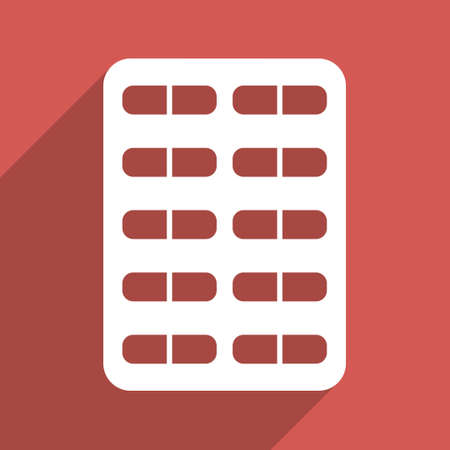 therapie: Pill Blister long shadow glyph icon. Style is a flat light symbol on a red square background.