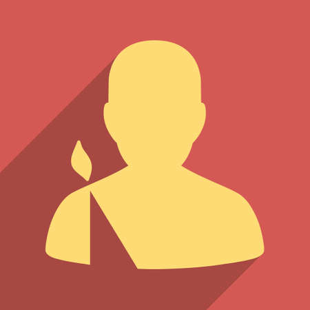 persona: Patient long shadow vector icon. Style is a flat light symbol on a red square background. Illustration