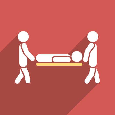 paciente en camilla: Camilla de iconos de vectores larga sombra. El estilo es un símbolo de luz plana sobre un fondo cuadrado rojo.