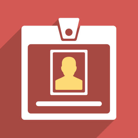 admittance: Person Badge long shadow vector icon. Style is a flat light symbol on a red square background.