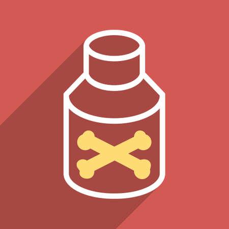 veneno frasco: Botella del veneno larga sombra del icono del vector. El estilo es un símbolo de luz plana sobre un fondo cuadrado rojo.