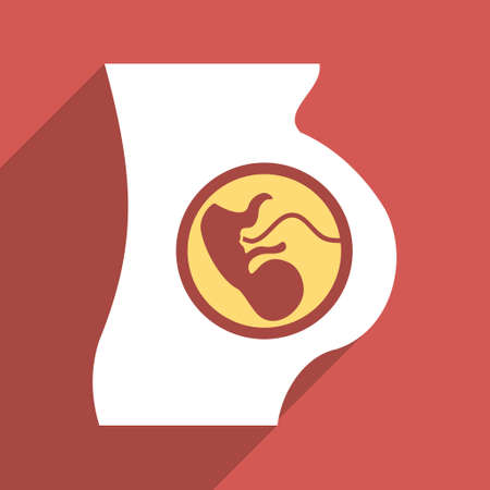 babycare: Pregnancy Anatomy long shadow vector icon. Style is a flat light symbol on a red square background.