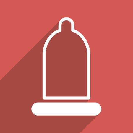 prophylactic: Preservative long shadow vector icon. Style is a flat light symbol on a red square background.