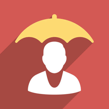 surety: Personal Insurance Protection long shadow vector icon. Style is a flat light symbol on a red square background.
