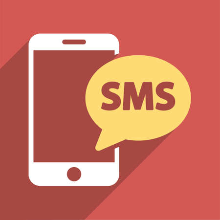 short message service: Phone SMS long shadow vector icon. Style is a flat light symbol on a red square background.
