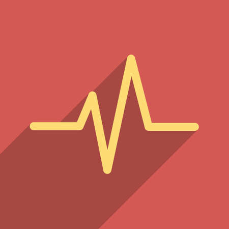electrocardiograph: Pulse long shadow vector icon. Style is a flat light symbol on a red square background. Illustration