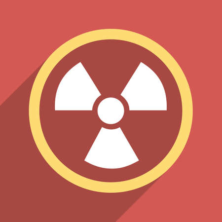nuclear safety: Radiation Danger long shadow vector icon. Style is a flat light symbol on a red square background.
