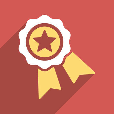 favorite number: Star Quality Seal long shadow vector icon. Style is a flat light symbol on a red square background.