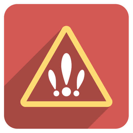 rounded: Multiple Problems long shadow glyph icon. Style is a flat symbol on a red rounded square button. Stock Photo