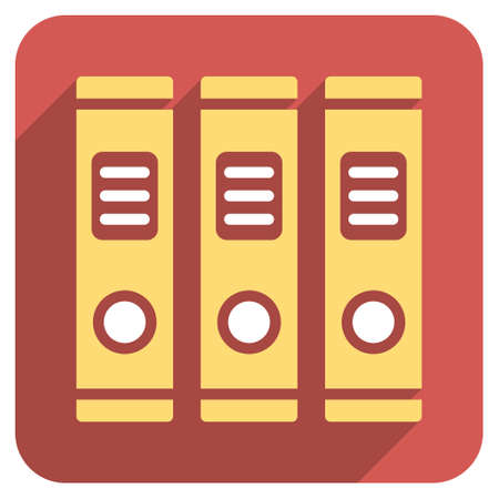 periodicals: Office Books long shadow glyph icon. Style is a flat symbol on a red rounded square button.