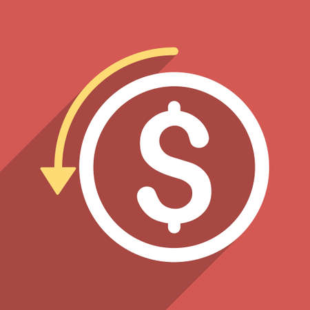 moneyback: Refund long shadow vector icon. Style is a flat light symbol on a red square background.