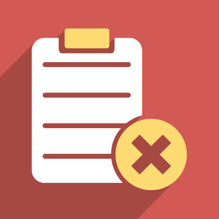 reject: Reject Form long shadow vector icon. Style is a flat light symbol on a red square background.