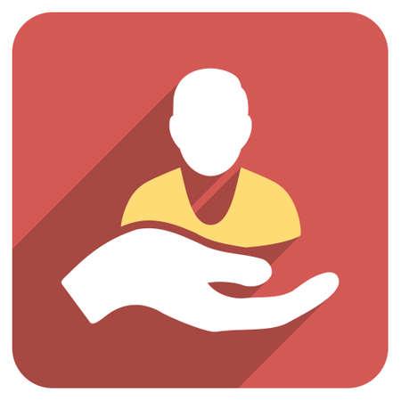 Aide à la patiente icône du glyphe longue ombre. Le style est un symbole plat sur un bouton carré rouge arrondi. Banque d'images - 52503376
