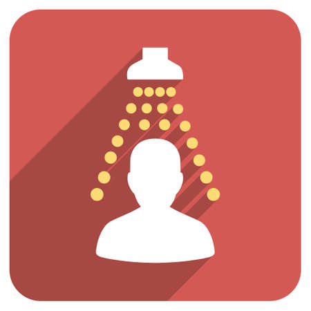 sanitizer: Patient Disinfection long shadow glyph icon. Style is a flat symbol on a red rounded square button.