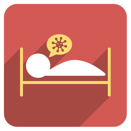 patient bed: Infected Patient Bed long shadow vector icon. Style is a flat symbol on a red rounded square button.