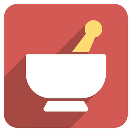 Mortar long shadow vector icon. Style is a flat symbol on a red rounded square button.