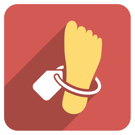 mortuary: Mortuary Foot Tag long shadow vector icon. Style is a flat symbol on a red rounded square button. Illustration