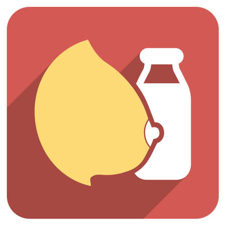 woman drinking milk: Mother Milk Bottle long shadow vector icon. Style is a flat symbol on a red rounded square button.