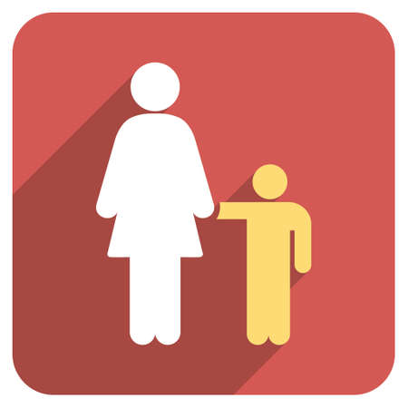 Mother With Son Long Shadow Vector Icon Style Is A Flat Symbol