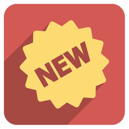 newest: New Tag long shadow vector icon. Style is a flat symbol on a red rounded square button.