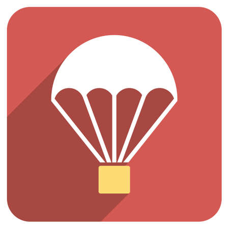 sky dive: Parachute long shadow vector icon. Style is a flat symbol on a red rounded square button. Illustration
