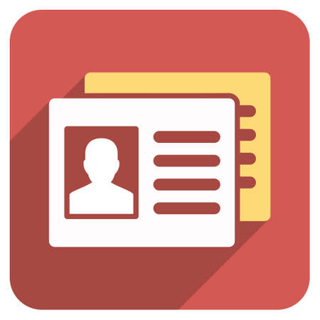 accounts: Patient Accounts long shadow vector icon. Style is a flat symbol on a red rounded square button.