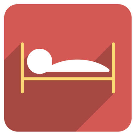 patient bed: Patient Bed long shadow vector icon. Style is a flat symbol on a red rounded square button. Illustration