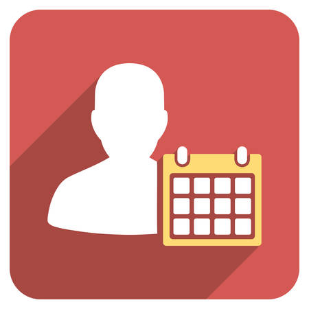 time account: Patient Calendar long shadow vector icon. Style is a flat symbol on a red rounded square button. Illustration
