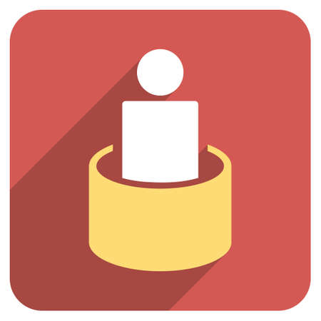 quarantine: Patient Isolation long shadow vector icon. Style is a flat symbol on a red rounded square button.