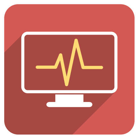 heart ecg trace: Pulse Monitoring long shadow vector icon. Style is a flat symbol on a red rounded square button. Illustration
