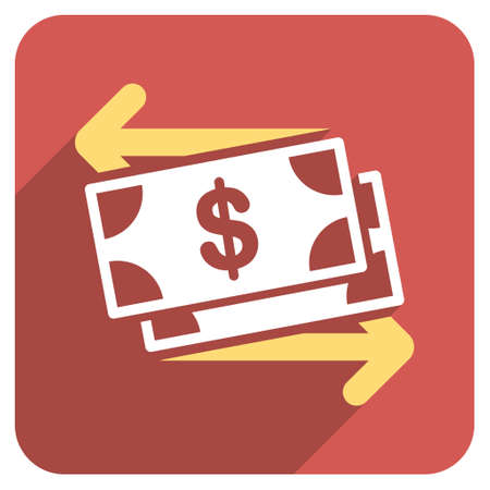 spend: Spend Banknotes long shadow vector icon. Style is a flat symbol on a red rounded square button.