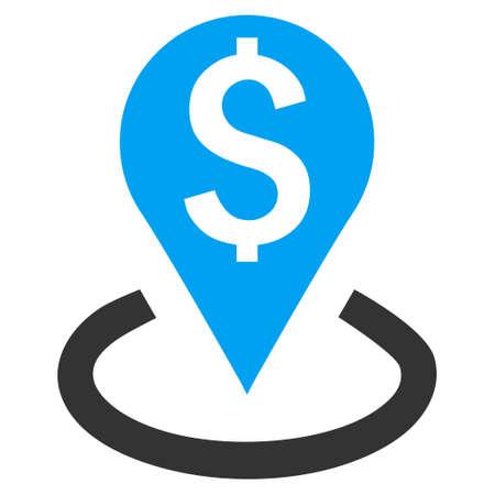 Banca Posizione vettore icona. Lo stile è simbolo bicolore piatta, i colori blu e grigio, sfondo bianco. Vettoriali