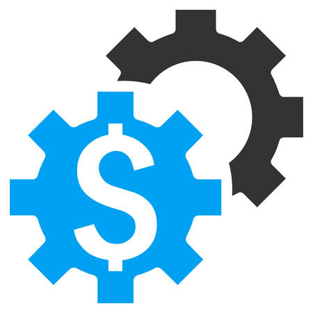 adjustment: Bank Settings vector icon. Style is bicolor flat symbol, blue and gray colors, white background.