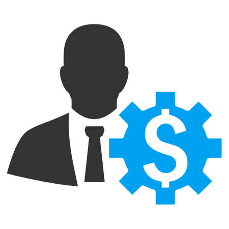 banker: Banker Options vector icon. Style is bicolor flat symbol, blue and gray colors, white background.
