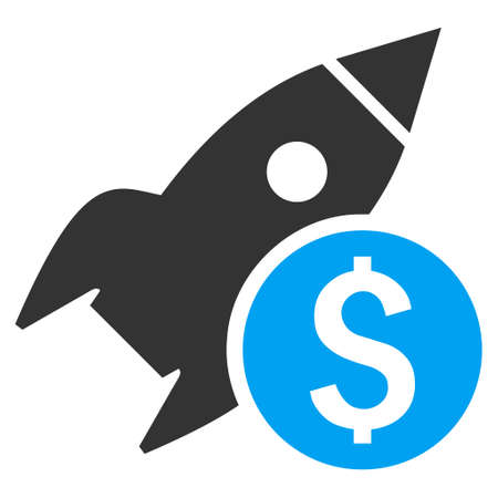 satellite launch: Business Startup vector icon. Style is bicolor flat symbol, blue and gray colors, white background.
