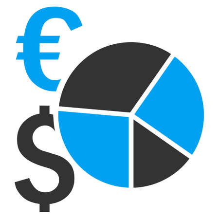 blue icon: Financial Pie Chart vector icon. Style is bicolor flat symbol, blue and gray colors, white background. Illustration