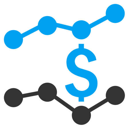 economic forecast: Financial Trends vector icon. Style is bicolor flat symbol, blue and gray colors, white background.