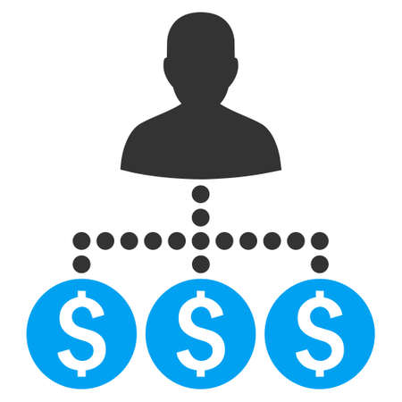 collector: Money Collector vector icon. Style is bicolor flat symbol, blue and gray colors, white background.