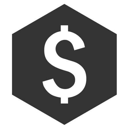 ドルの六角形のベクトルのアイコン。スタイルは、フラット記号、グレー色、白色の背景です。