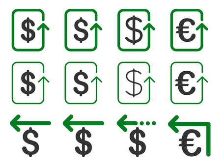 remake: Dollar and Euro Refund glyph icon set. Style is green and gray flat symbols isolated on a white background.